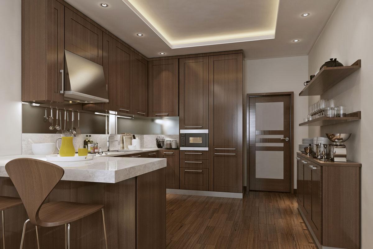 Κλασική κουζίνα από καφέ ξύλο
